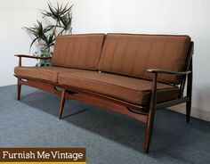 mid century modern wood frame couch two cushion back - Wood Frame Sofa With Cushions