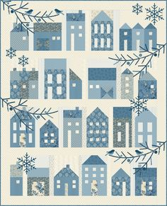 Winter Village by Laundry Basket Quilts made with Blue Sky for Andover