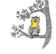 Owl Doodle Print,Little owl in an tree, Zen doodle, black pen and colour print, nursery print A4 Print by ArtandDesign4u on Etsy