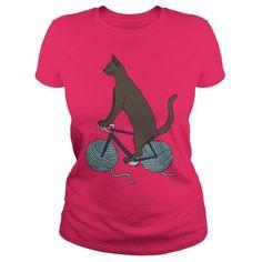 Cool Cat-Riding-Bike-With-Yarn-Ball-Wheels Shirts & Tees