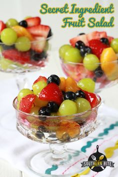 Secret Ingredient Fruit Salad - takes 10 minutes to make. So easy and delicious!