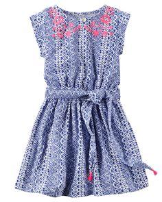 Carter's Embroidered Tassel-Tie Dress, Little Girls - Print ( 8 Wedding Dresses For Kids, Toddler Girl Dresses, Girls Dresses, Toddler Girls, Little Girl Fashionista, Jersey Shirt Dress, Tribal Print Dress, Carters Dresses, Cute Outfits For Kids