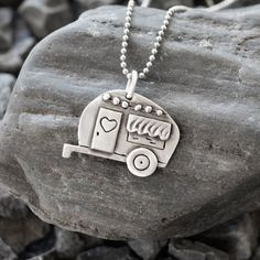 Vagabond Trailer, hippie camper necklace, sterling silver