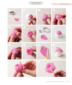 Sugar Flowers: The Signature Collection Sugar Paste Flowers, Wafer Paper Flowers, Paper Flowers Craft, Fondant Flowers, Clay Flowers, Flower Crafts, Ceramic Flowers, Fondant Flower Tutorial, Rose Tutorial