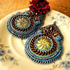 Tamarchi / Once Upon A Time...  soutache/bead embroidery earrings