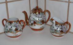 Vintage Japanese Hand Painted 4 pc. Porcelain Teaset, Creamer, Sugar Bowl #AsianStasuma #unknow Antique Tea Sets, Vintage Japanese, Sugar Bowl, Tea Pots, Porcelain, Hand Painted, Antiques, Tableware, Antiquities
