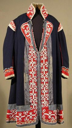 First Nations, Mi'kmaq - Ceremonial Robe, ca.1825 - Originally a mass-produced European jacket, the lapels and collar of this coat were removed by a Mi'kmaq artisan and replaced with gray and red silk ribbons, embroidered with white glass beads in a traditional floral motif