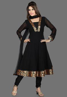 Black Faux Georgette Readymade Anarkali Churidar Kameez: KYC1531