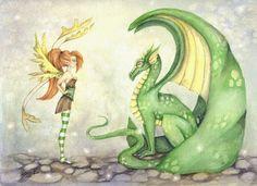 Dragon Art Print - The Dragon Tamer - 5x7 -fantasy, fairy, Whimsical, fairy tale, pixie, wings, children, illustration, girl