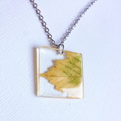 Autumn Leaf Necklace  Real Resin Leaf Pendant  Fall Jewelry
