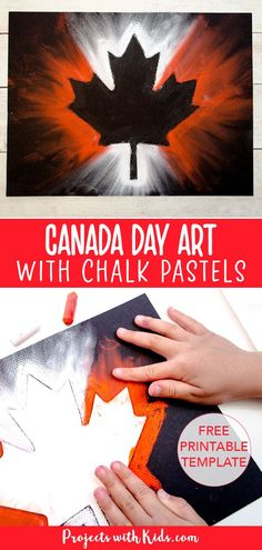 Create this stunning Canada Day chalk pastel art with only a few simple supplies! Kids of all ages will love using chalk pastels to make this super easy art project. Canada Day Party, Summer Crafts For Toddlers, Crafts For Seniors, Chalk Pastel Art, Chalk Pastels, Chalk Art, Easy Art Projects, Projects For Kids, Project Projects