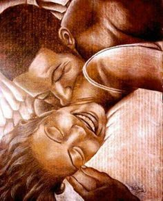 """A Guardian's Love"" by Dantrel Bonae story Black Couple Art, Black Girl Art, Black Couples, Black Girl Magic, African American Artwork, African Art, Black Artwork, Afro Art, My Black Is Beautiful"