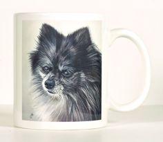 Pomeranian Mug, Merle or Red Pomeranian, Pom Pom Designer Mug, Includes Custom Text