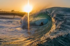 The Wedge by Justin Enright This is beutiful I love the way the sun is setting into the wave