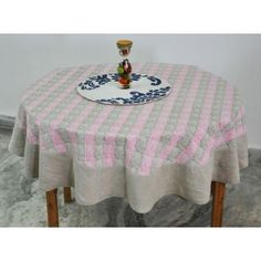 Linen printed round table cover #tablecovers #tablecoversonline
