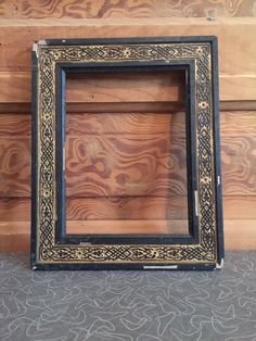 Antique Aesthetic Black and Gold Gesso on Wood Picture Frame #AestheticMovement #Unknown