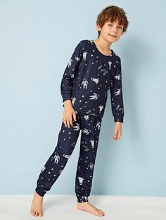 Boys Space Print PJ Set – Agodeal Boys Pjs, Boys Pajamas, Satin Pj Set, Cartoon Letters, Sleepwear & Loungewear, Pj Sets, Spandex Material, Pajama Set, Lounge Wear