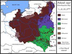 Ethnolinguistic Map of Poland, 1937.