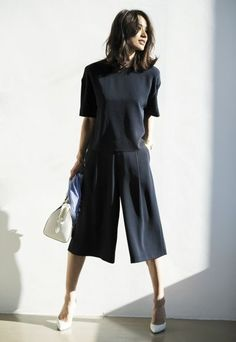 Navy culottes, navy top and white accessories.   Stylish casual minimalist outfit | Minimalist casual wear | Capsule wardrobe | Slow fashion | Simple style | Minimalist style | Stylish business casual | Scandinavian casual wear | Stylish work outfit by Uniqlo
