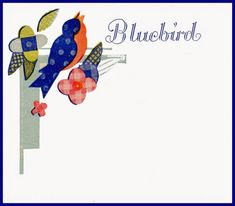 bumble button: by Lousie Cheerful graphics from vintage Bluebird brand buttons. Print them on cardstock paper and you can sew your own buttons on them. The cards can be used as gift tags or made into greeting cards