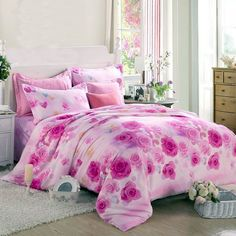 Create a nice sleep oasis with the romantic pink rose bedding sets. These girls pink rose pattern bedding sets are perfect for year-round use, It provides the ultimate in comfort. This combination will enrich your bedroom with romantic style. Hot Pink Bedrooms, Girls Bedroom Sets, Pink Bedroom Decor, Girl Bedroom Designs, Shabby Chic Bedrooms, Teen Girl Bedrooms, Bedroom Furniture Sets, Dream Bedroom, Bedroom Flowers