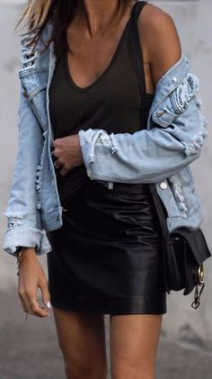 how to mix black with denim summer street style