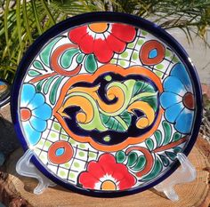 """Talavera Mexican Pottery Lunch Salad Plate 8"""" Hand Painted Lead Free Italy CD   eBay"""