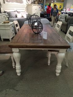 Farmhouse Table Two Tone Marsilona Dining Room Table