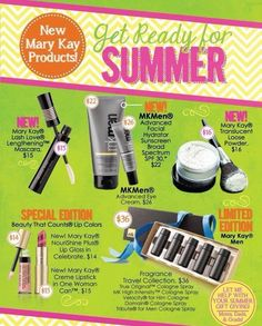 New Summer 2013 Collection will be available for preorder! Contact me to get yours first! Limited edition products sell out fast! Www.marykay.com/lheff book your summer party to earn yours free!