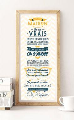 regles de la maison poster numerique affiche deco cadeau