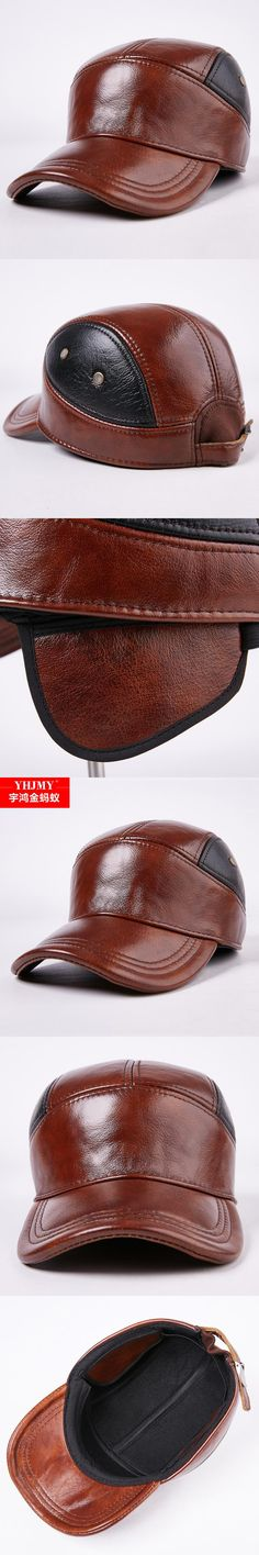 71a157c9fe1 New Arrival Autumn Winter Leather Hat Men s Genuine Leather Hat Ear  Protection Warm Peaked Thickening Cap