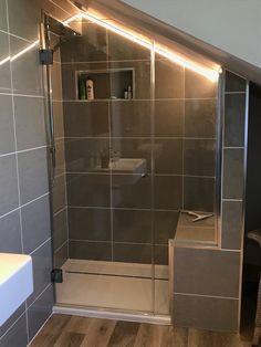 Frameless loft shower enclosure installed in Solva, West Wales. Attic Shower, Small Attic Bathroom, Small Shower Room, Loft Bathroom, Upstairs Bathrooms, Ensuite Bathrooms, Bathroom Design Small, Bathroom Interior, Loft Ensuite