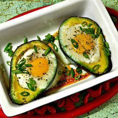 """Paleo Baked Eggs in Avocado   """"I used a cupcake pan to steady the avocados and eggs to prevents spills."""""""