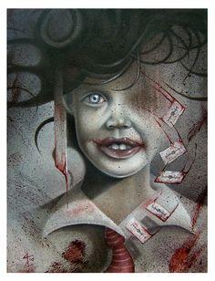 Perhaps boy wants to grow up to be a clown serial killer? *Shudder* Horror Art by David A Magitis Bizarre Kunst, Bizarre Art, Creepy Art, Scary, Mark Ryden, Art And Illustration, Illustrations, Fantasy Kunst, Fantasy Art