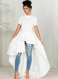 893003261bacd Kangma Women Short Sleeve High Low Peplum Dress Bodycon Casual Party Club  Dress at Women s Clothing store