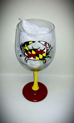 Maryland Crab Flag Hand Painted Wine Glass