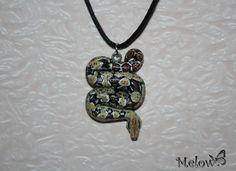 Collier, pendentif serpent en pate Fimo N°28 : Collier par patou-melow