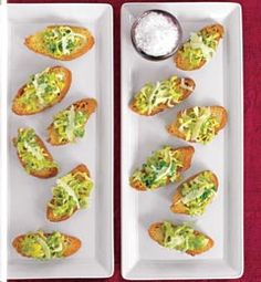 Caesar Crostinis: an easy peezy, healthy & cheesy passed hors d'oeuvre!