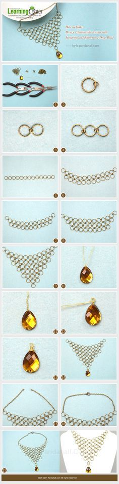 How to Make Bronze Chainmaille Jewelry with Jumpring and Rhinestone Drop Bead #Wire #Jewelry #Tutorials
