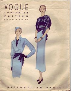 Lovely 1930s Ensemble ~ jacket with darted collar, cowl draped clouse and a slim skirt ~ Vogue Couturier 206