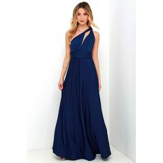 Always Stunning Convertible Navy Blue Maxi Dress ($58) ❤ liked on Polyvore featuring dresses, gowns, blue, long gowns, long navy skirt, wrap maxi skirt, long skirts and blue maxi skirt