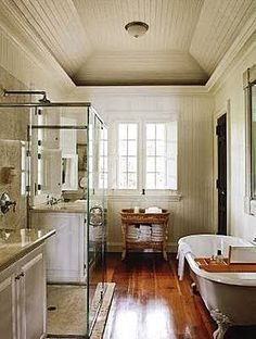 """Oscar de la Renta's bathroom in the DR - Beadboard walls and ceiling, so simply chic and old fashioned"" #bathroom"