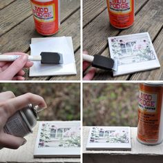 Homemade polaroid coasters - glue prints to a ceramic tile and finish with mod podge. Nice idea but I would change the ceramic with, like, heavy duty white cardboard Homemade Coasters, Diy Coasters, Photo Coasters, Ceramic Coasters, Homemade Gifts, Diy Gifts, Fun Crafts, Diy And Crafts, Tile Crafts