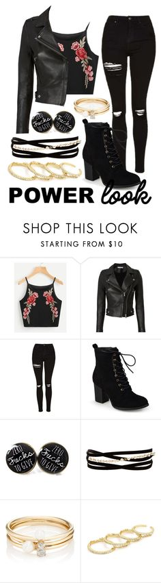 """""""Power Look"""" by ariettav ❤ liked on Polyvore featuring IRO, Topshop, Journee Collection, Kenneth Jay Lane, Loren Stewart, Fallon, black and power"""