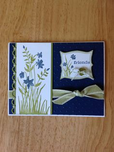 Stampin Up friendship, all occasion card - blue flowers