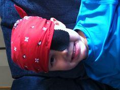 DIY Pirate Eye Patch!  Just sew black felt on a handkerchief folded in half!  Great gift from Grandma!