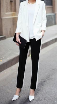 Back to Basic: The Black & White Trend for Women Part 1 http://www.toomarvelous.com/2014/02/05/basic-black-white-trend-women-part-1/  #blackandwhite #fashion #womens #womensfashion #trends #blog #style #fashionblog  Pair a tuxedo-striped dress pants could go well with a white shirt and boyfriend blazer.