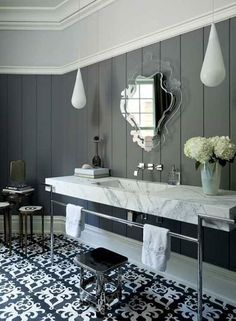 bathroom ideas...Beautiful,but I'd used different Light Fixtures