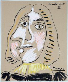 """Pablo Picasso """"Tete de Mousquetaire III"""" 2-2-1971 Gouache cm 44,8x37,5  FOR SALE, Private collection giancarlo.rossini@me.com"""