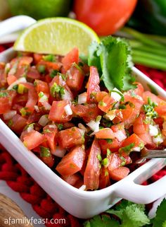 Add fresh and fantastic flavor to any Mexican-inspired meal with our classic Pico de Gallo recipe!  Pico de gallo is also sometimes called 'salsa fresca' and it is a fresh, uncooked condiment typically made by combining chopped tomatoes, white onions and jalapeños or other chili peppers. ~ http://www.afamilyfeast.com/pico-de-gallo/